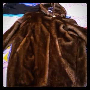 Vintage Faux fur coat with hoodie. Size Med